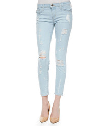 Current/Elliott The Stiletto Distressed Jeans Chalky Indigo