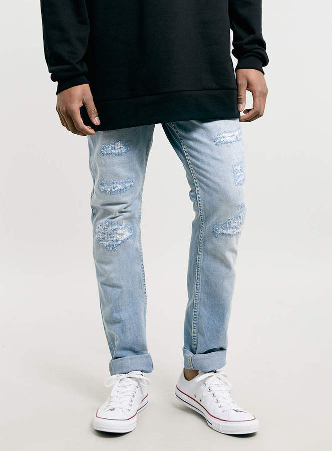 Topman Light Wash Ripped Skinny Jeans