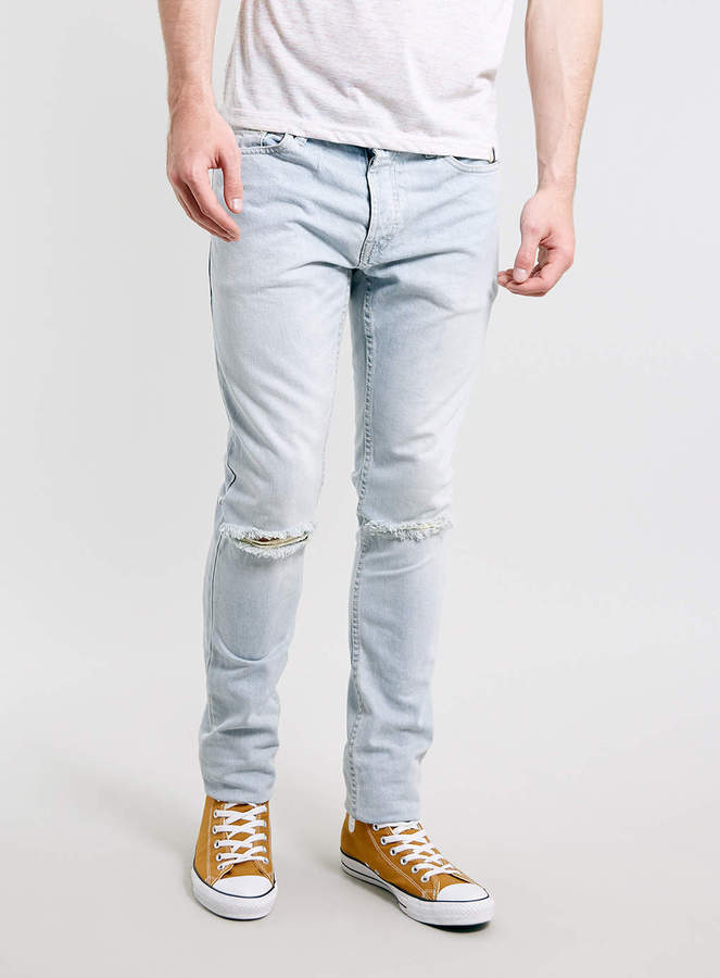 Topman Light Wash Ripped Skinny Jeans | Where to buy & how to wear