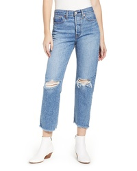 Levi's Wedgie High Waist Ripped Crop Straight Leg Jeans
