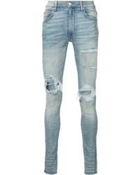 Men's Light Blue Ripped Skinny Jeans from Asos | Men's Fashion