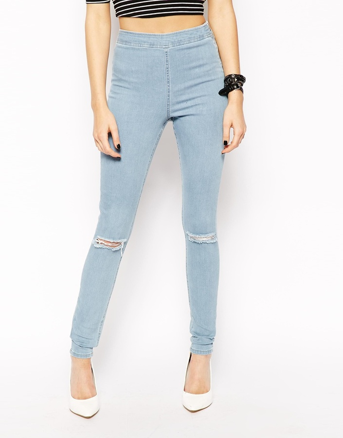 Asos Jameson High Waist Denim Jeggings In Distressed Light Wash