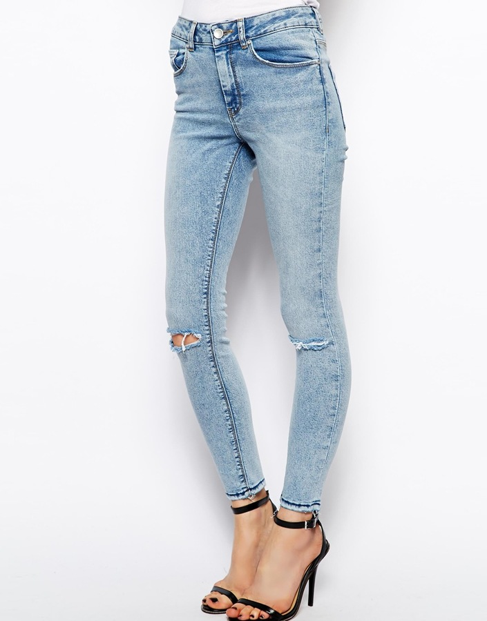 Asos Ridley High Waist Ultra Skinny Ankle Grazer Jeans In Promise ...