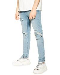Topman Biker Blowout Skinny Jeans