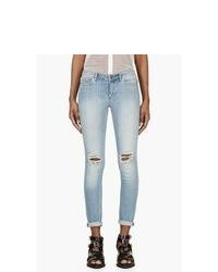 BLK DNM Blue Bleached Distressed Skinny Jeans
