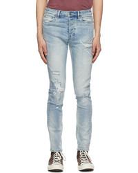 Ksubi Blue Distressed Topstitched Chitch Jeans