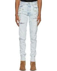 Amiri Blue Hand Painted Slit Jeans