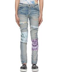 Amiri Blue Tie Dye Art Patch Jeans