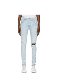 Amiri Blue Watercolor Half Track Jeans