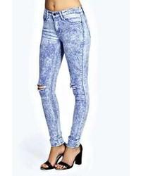 Boohoo Jade Ice Wash Skinny Ripped Knee Jeans