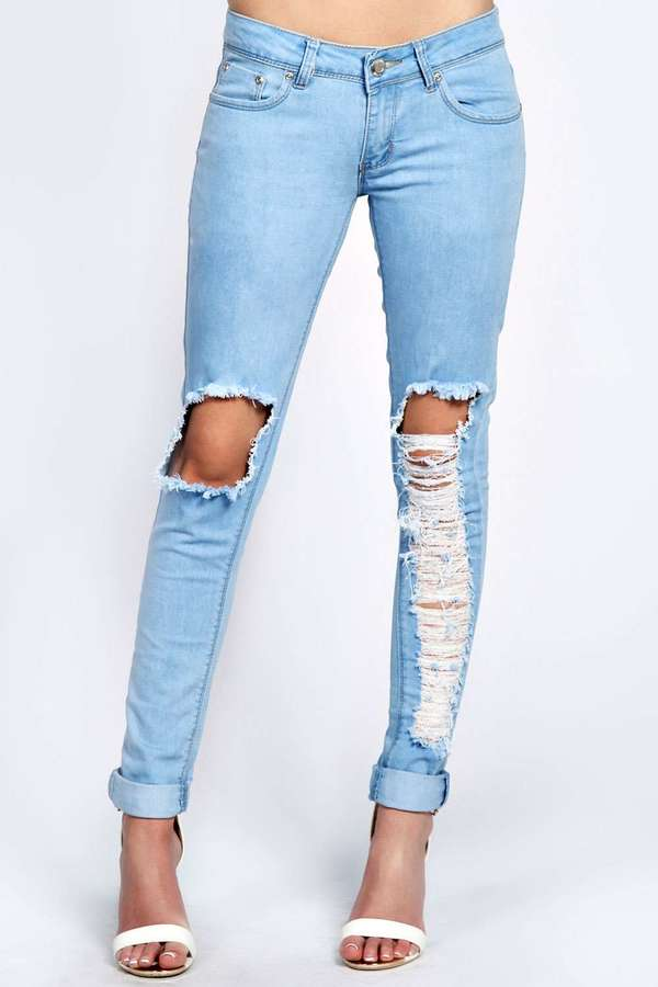 Boohoo Kelly Light Stone Wash Ripped Leg Skinny Jeans | Where to ...