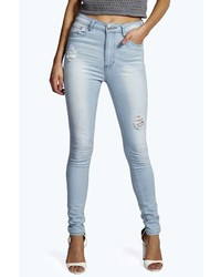 Boohoo Leah Low Rise Heavy Ripped Skinny Jeans