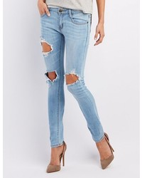 Charlotte Russe Machine Jeans Light Wash Destroyed Skinny Jeans