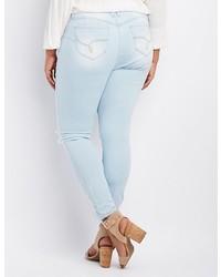 Charlotte Russe Plus Size Light Wash Destroyed Boyfriend Jeans