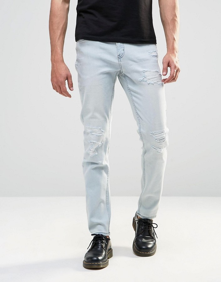 Cheap Monday Tight Skinny Jeans Cloud Bleach Distressed | Where to ...
