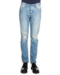 Ami Distressed Denim Jeans Light Blue