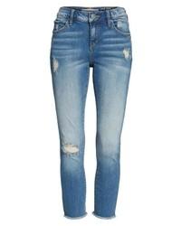 SLINK Jeans Frayed Hem Crop Jeans