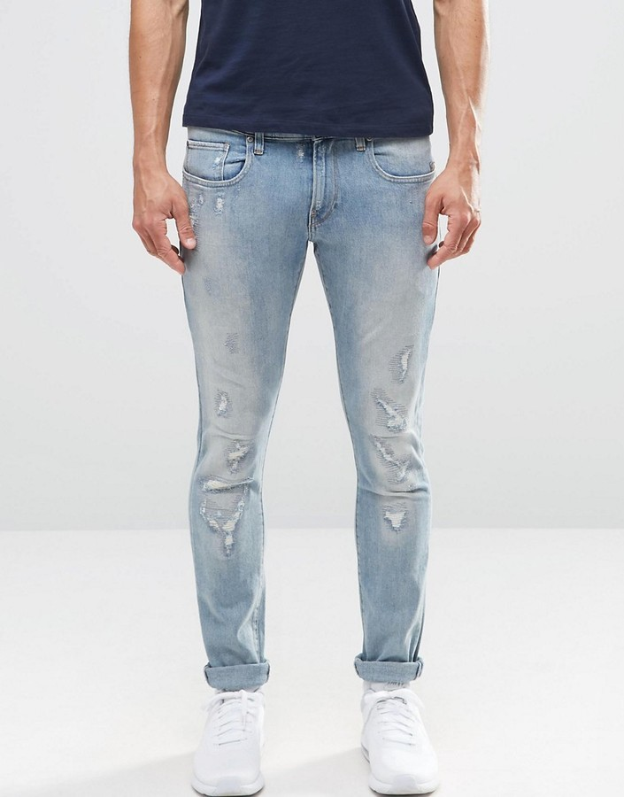 G Star G Star Revend Super Skinny Jeans Light Aged Restored ...