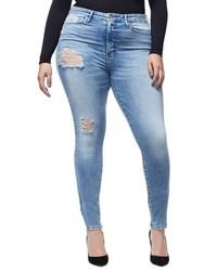Good American Good Waist Side Triangle Crop Skinny Jeans