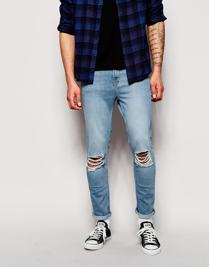 Hoxton Denim Skinny Ripped Jeans In Light Blue Wash | Where to buy ...