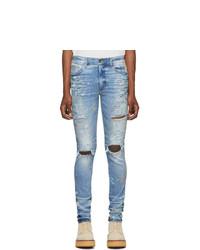 Amiri Indigo Paint Splatter Jeans