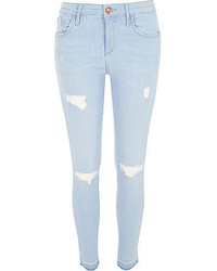 River Island Light Wash Ripped Amelie Super Skinny Jeans