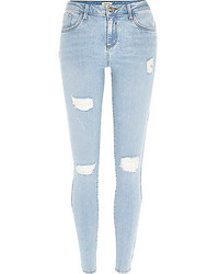 River Island Light Wash Ripped Amelie Superskinny Jeans