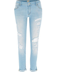 River Island Light Wash Ripped Cara Superskinny Jeans