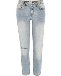 River Island Light Wash Ripped Knee Eva Girlfriend Jeans