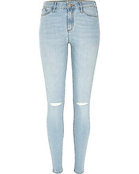River Island Light Wash Ripped Molly Jeggings