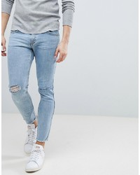 Mango Man Skinny Jeans With Knee Rips In Mid Wash Blue