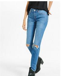 Express Mid Rise Distressed Skinny Jean