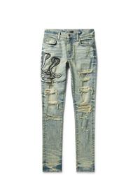 Amiri Mx1 Skinny Fit Appliqud Faux Snake Panelled Distressed Stretch Denim Jeans