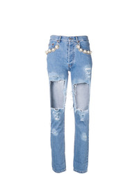 Forte Dei Marmi Couture Pearl Distressed Ripped Jeans