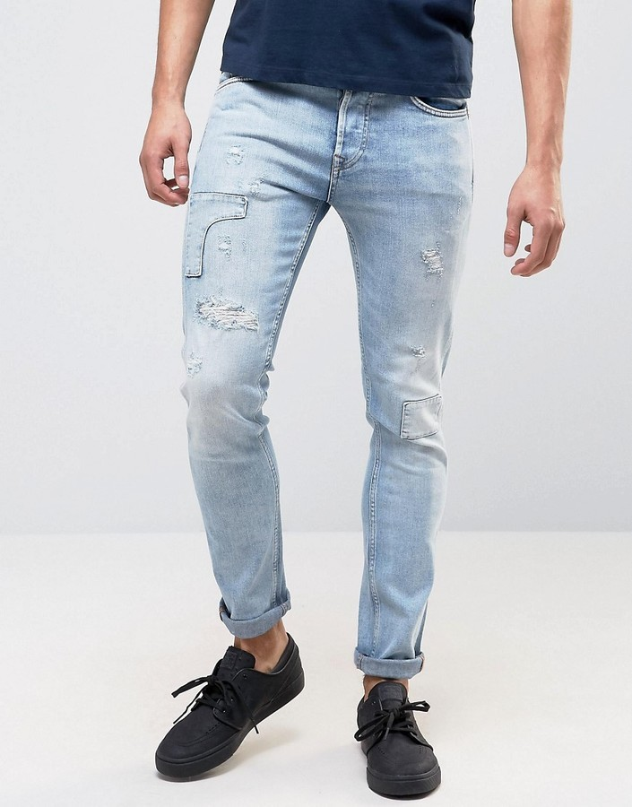 Pepe Jeans Pepe Archive Eddy Skinny Fit Jean Bleach Destroyed Wash ...