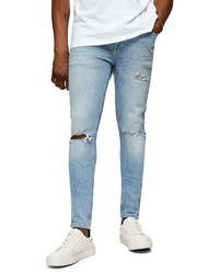 Topman Sandler Ripped Spray On Skinny Fit Jeans