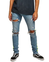 Topman Side Tape Stretch Skinny Fit Jeans