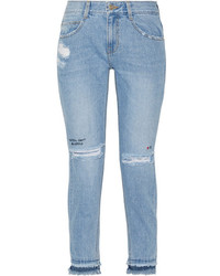 Sjyp Steve J Yoni P Embroidered Distressed High Rise Skinny Jeans Mid Denim
