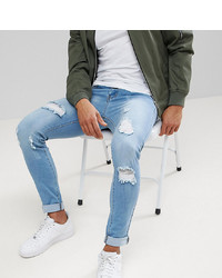 Liquor N Poker Skinny Extreme Rips Jeans In Light Stonewash