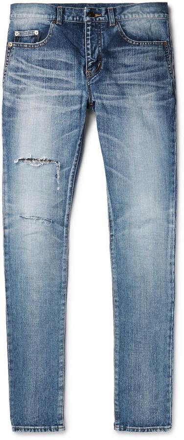 Skinny-fit 15cm Hem Distressed Denim Jeans Saint Laurent Pre Order For Sale 6PDog3ZGki