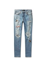 Amiri Skinny Fit Appliqud Distressed Stretch Denim Jeans