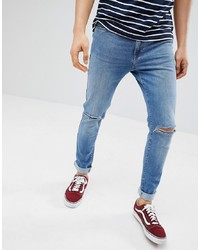Pier One Slim Fit Jeans In Light Blue With Rips Denim