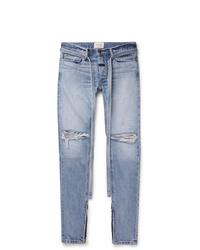 Fear Of God Slim Fit Tapered Belted Distressed Selvedge Denim Jeans