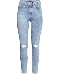 H&M Slim High Ankle Trashed Jeans Light Denim Blue Ladies