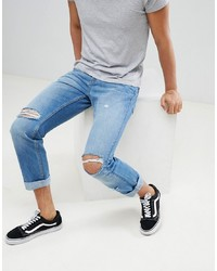 YOURTURN Straight Jeans In Mid Blue With Rips