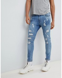 YOURTURN Super Skinny Jeans In Mid Blue With Rips