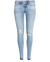 H&M Super Skinny Low Ripped Jeans White Ladies