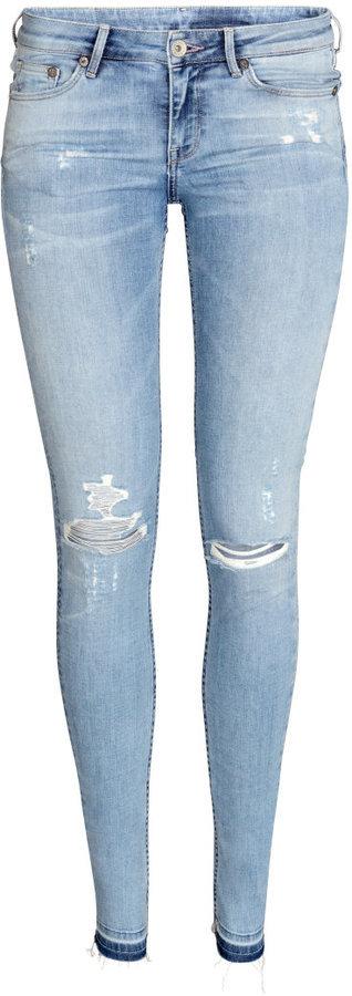 H&M Super Skinny Low Ripped Jeans White Ladies, $39 | H & M
