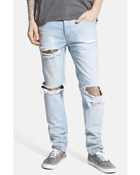 Men's Light Blue Ripped Skinny Jeans by Topman | Men's Fashion