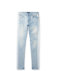 Amiri Track Stack Skinny Fit Striped Distressed Stretch Denim Jeans